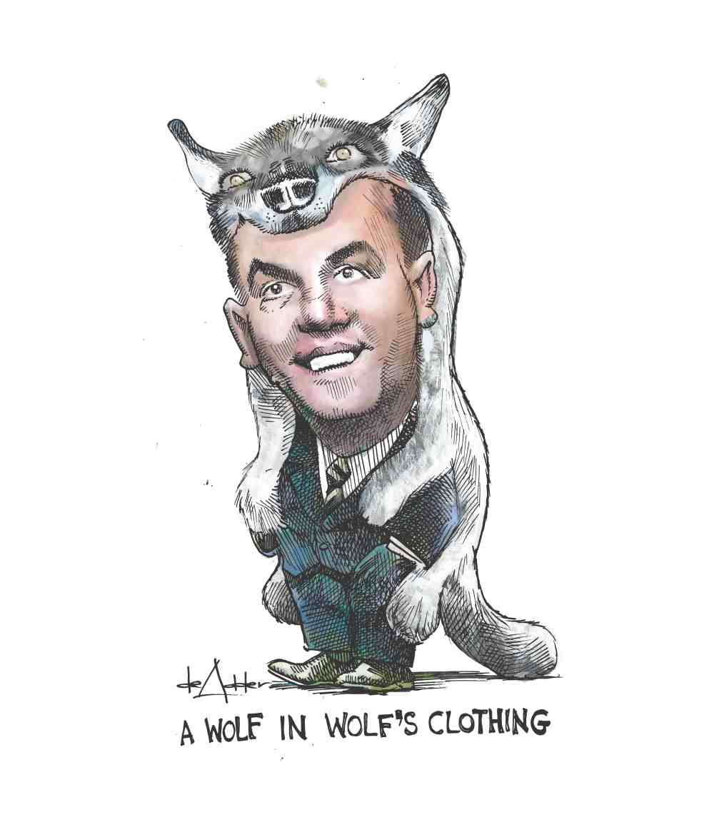 comic animation of Hudak dressed in wolf's skin