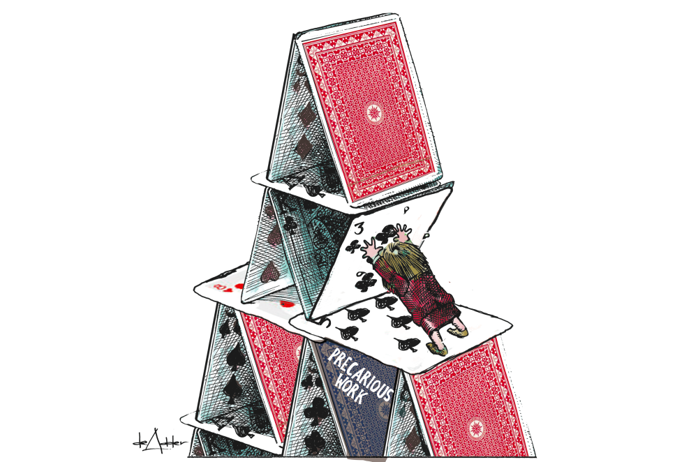 cartoon of politician holding up house of cards