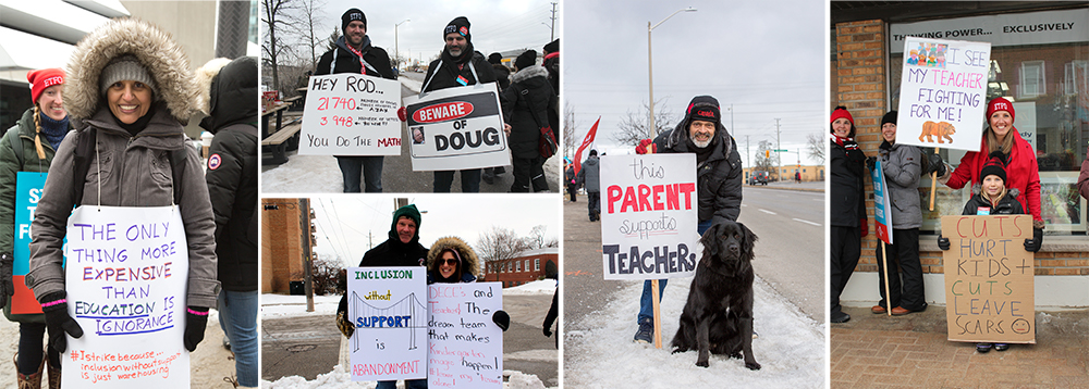 collage of teachers striking in the snow