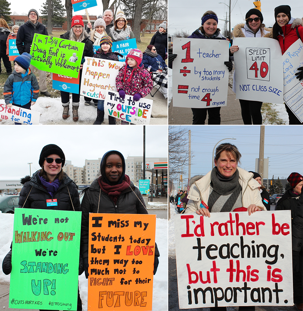 collage of teachers striking outside
