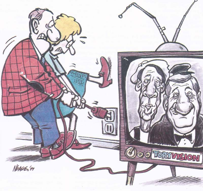 cartoon of people pulling plug on TV that has politicians on screen
