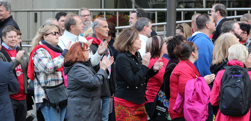 ETFO members gathered outside at representative council meeting
