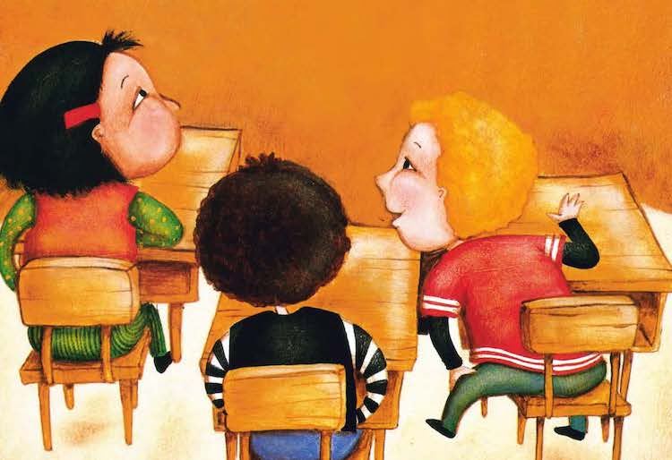 cartoon of kids in classroom