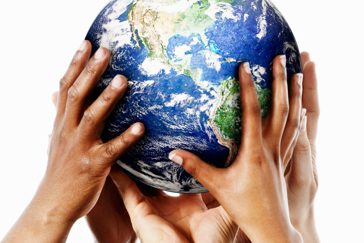 hands holding up the earth