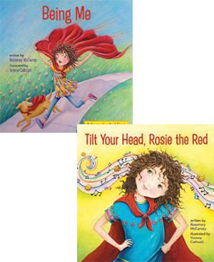 book covers of Being Me and Title Your Head Rosie the Red