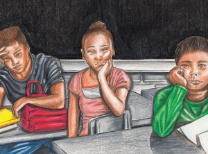 Illustration of black children in classroom