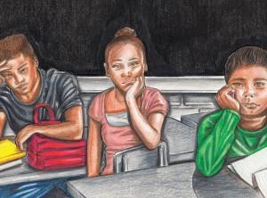 Illustration of black children in classroom