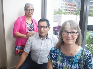 Shelly Jan, Elizabeth Kettle and Diego Olmedo standing together