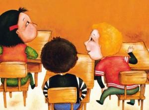cartoon of kids in classroom