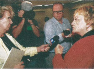 Phyllis Benedict, President, talks to the media. Hot topics were the birth of a new union, collective bargaining and political action.