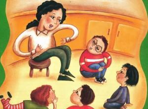 illustration of teacher talking to students