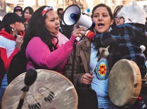 Indigenous activists organizing outside