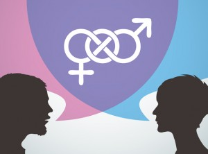 graphic of male and female silhouettes with speech bubbles indicating a conversation about gender