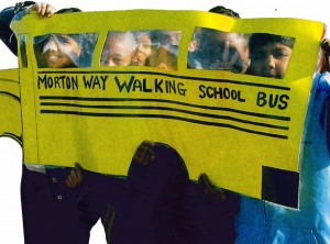 kids with schoolbus artwork