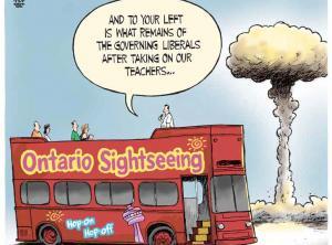 cartoon of ontario sightseeing bus