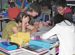 students working together on project sitting around table