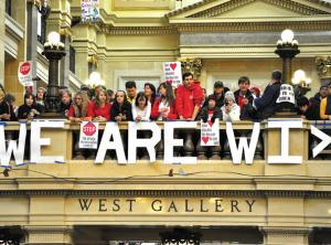 ETFO Members standing outside the front of West Gallery