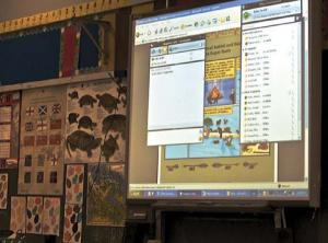 photo of computer desktop on projection screen