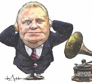 "Illustration of Doug Ford covering ears standing next to speaker with ""Education Consultations"" written on it"