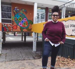 Tanitiã Munroe standing outside of school