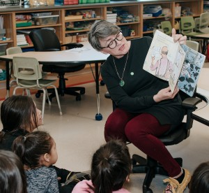 teacher reading book to classroom