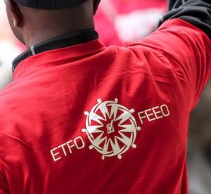 ETFO FEEO representative at rally