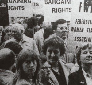 Women picketing for Federation of Women Teachers Associations