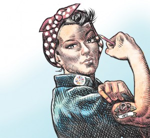Illustration of woman flexing muscle. Illustration by Michael de Adder