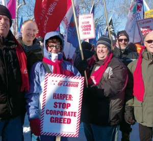 ETFO Members at rally in the winter