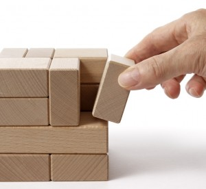 stock photo of cube made up of small rectangular blocks