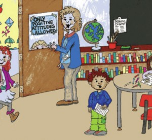 Artist's rendition of teacher and students in classroom