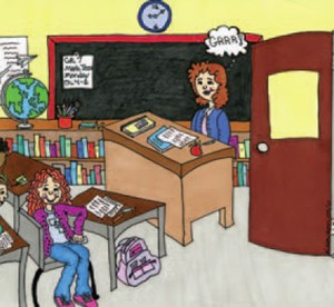 artist's rendition of teacher speaking to classroom