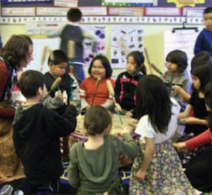 kindergarten teacher sitting in circle with students