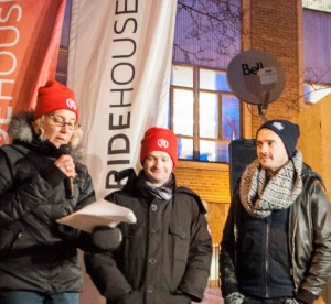 Three ETFO Members speaking in microphone outside in the winter
