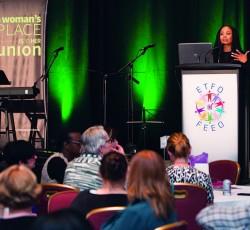 Woman speaking at podium