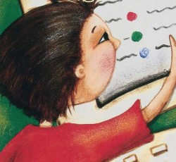 illustration of kid takign a test