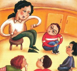 illustration of teacher talking to students