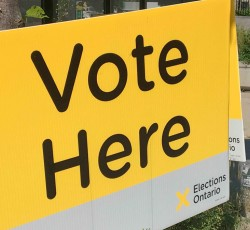 """Sign that reads """"Vote Here"""""""