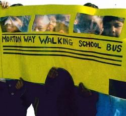 kids with schoolbus artwork