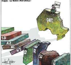 artist comic of us states toppling like dominos while ontario sits separate