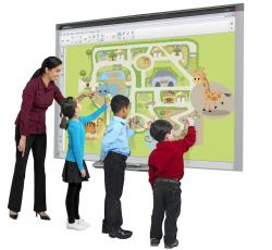 image of teacher and elementary students touching a floating browser screen