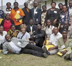 etfo members posing with ugandan teachers