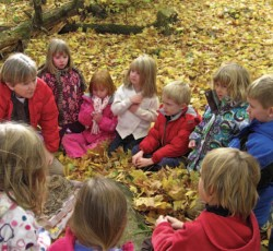 teacher sitting with young students in a circle on top of leaves outside