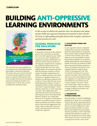 Cover of ETFO Voice Summer 2021 curriculum