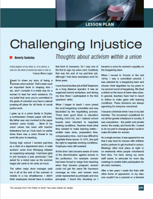 First page of Challenging Injustice curriculum