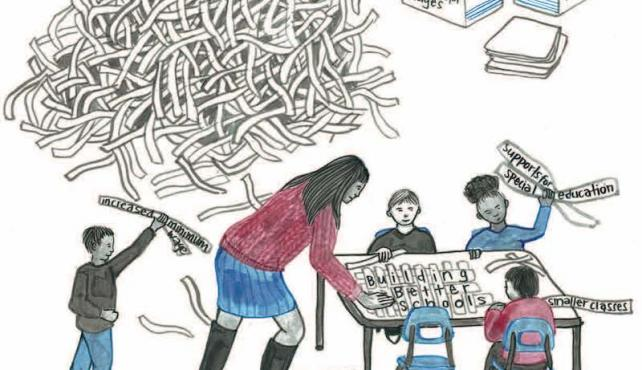 illustration of children playing with shredded documents