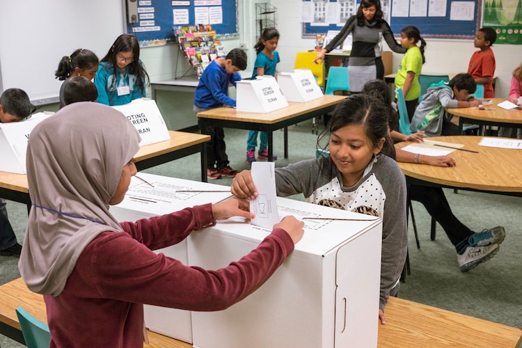students voting