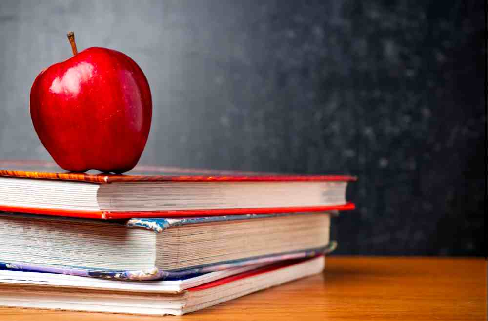 Staged photo of red apple sitting on textbooks in front of blackboard