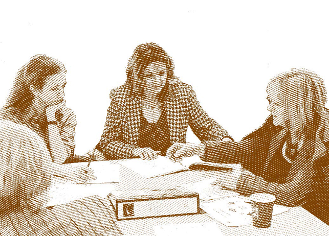 stock image of women sitting together in discussion with semitone