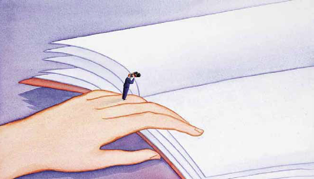 illustration of hand on book with tiny person standing on hand